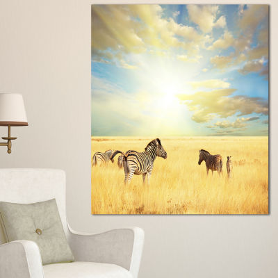 Designart Sunset Over Grassland With Zebras African Landscape Canvas Art Print - 3 Panels