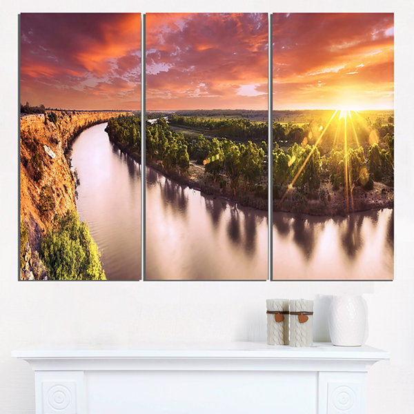 Designart Sunset Over Murray River Panorama ExtraLarge Wall Art Landscape