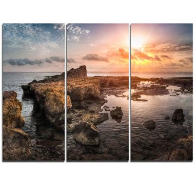 Designart Sunset Over Rocky African Coast Oversized Beach Triptych Canvas Artwork