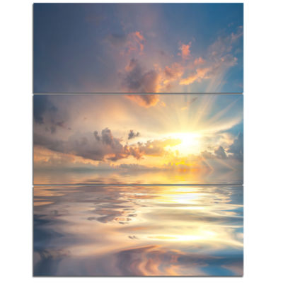 Designart Sunset Over Sea With Reflection Modern Landscape Wall Art Triptych Canvas