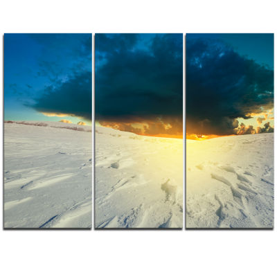 Designart Sunset Over Snowbound Prairie Extra Large Seashore Triptych Canvas Art