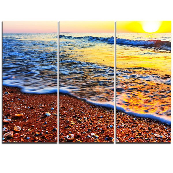 Designart Sunset Reflecting In Blue Waves Large Seashore Triptych Canvas Print