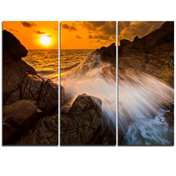 Designart Sunset Sea Wave Impact Rocks At Sunset Extra Large Seascape Art Triptych Canvas