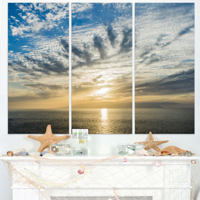 Designart Sunset Sky Above Atlantic Oversized Beach Triptych Canvas Artwork