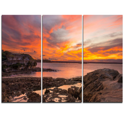 Designart Sunset Sky Panoramic Sydney View Large Seashore Triptych Canvas Print