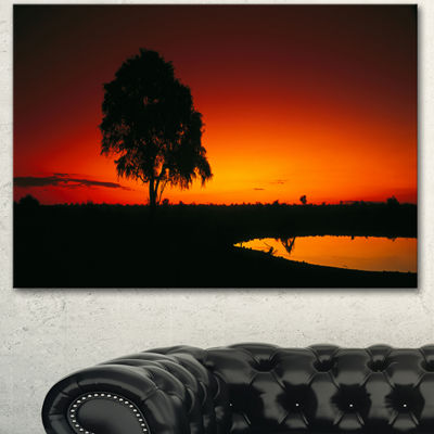 Designart Sunset View In Tanzania African Landscape Canvas Art Print - 3 Panels
