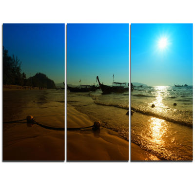 Designart Sunset With Boats In Andaman Sea ModernSeascape Triptych Canvas Artwork