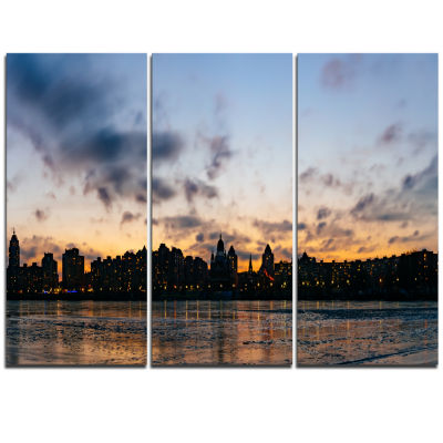 Designart Sunset With Clouds In Kiev Panorama Cityscape Triptych Canvas Art Print