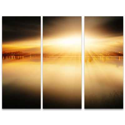 Designart Sunset With Views On The Lake Extra Large Wall Art Landscape