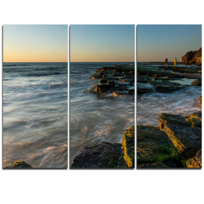 Design Art Sydney Beach With Mossy Rocks Large Seashore Triptych Canvas Print