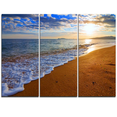 Designart Sydney Early Morning Beach Beach PhotoTriptych Canvas Print