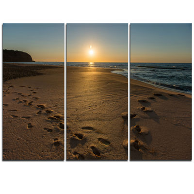 Designart Sydney Seashore At Sunrise Seascape Triptych Canvas Art Print