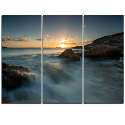 Designart Sydney Seashore At Sunset Seascape Triptych Canvas Art Print