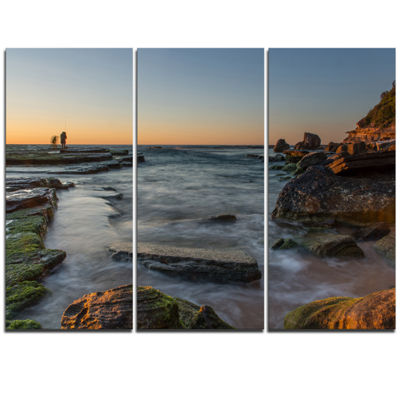 Designart Sydney Sunrise Over Seashore Seascape Triptych Canvas Art Print