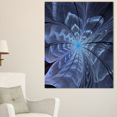 Designart Symmetrical Blue Digital Fractal FlowerFloral Canvas Art Print