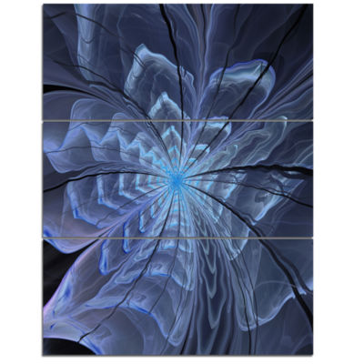 Designart Symmetrical Blue Digital Fractal FlowerFloral Triptych Canvas Art Print