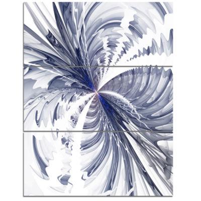 Designart Symmetrical Blue Fractal Flower FloralTriptych Canvas Art Print