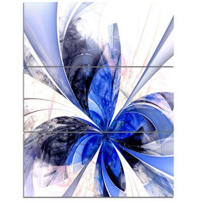 Designart Symmetrical Bright Blue Fractal FlowerFloral Triptych Canvas Art Print