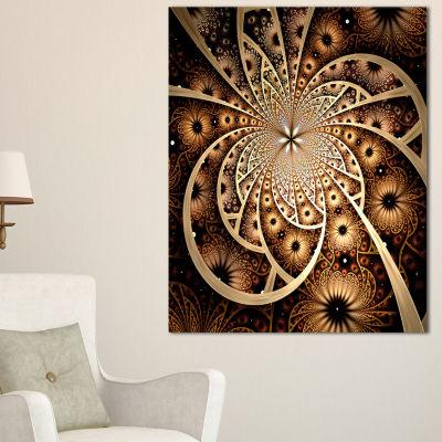 Design Art Symmetrical Brown Black Fractal FlowerFloral Canvas Art Print