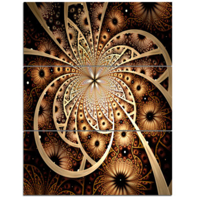 Design Art Symmetrical Brown Black Fractal FlowerFloral Triptych Canvas Art Print