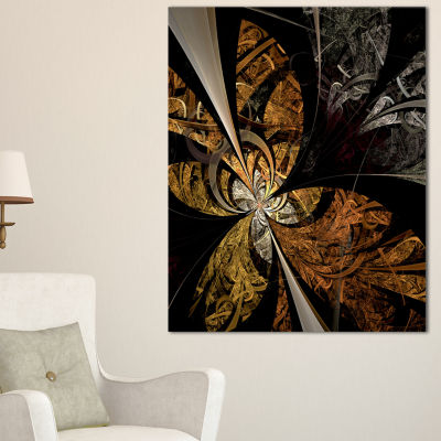 Designart Symmetrical Brown Fractal Flower FloralCanvas Art Print