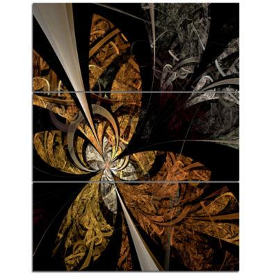 Designart Symmetrical Brown Fractal Flower FloralTriptych Canvas Art Print