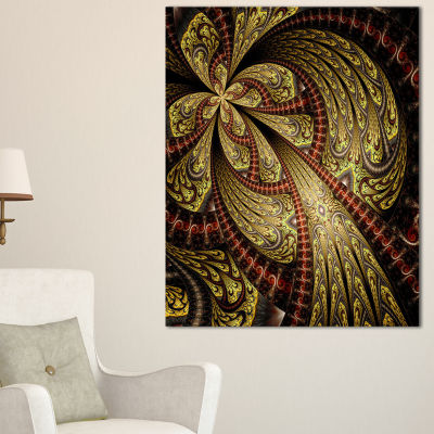 Designart Symmetrical Brown Red Fractal Flower Floral Canvas Art Print