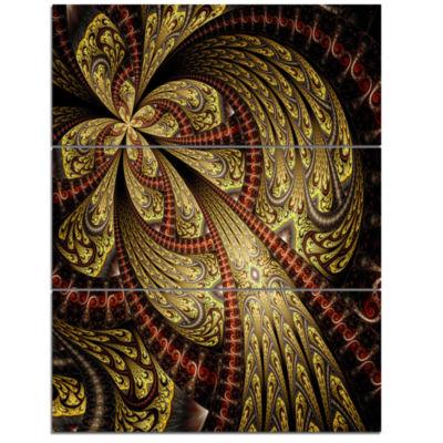Designart Symmetrical Brown Red Fractal Flower Floral Triptych Canvas Art Print