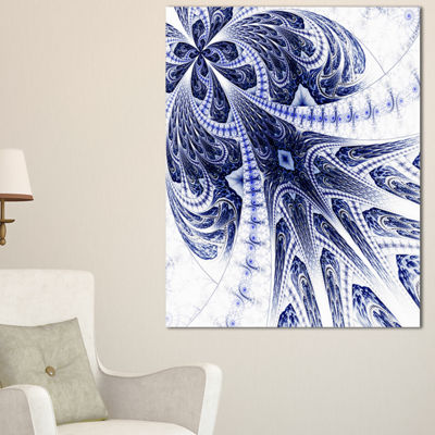 Designart Symmetrical Dark Blue Fractal Flower Floral Canvas Art Print