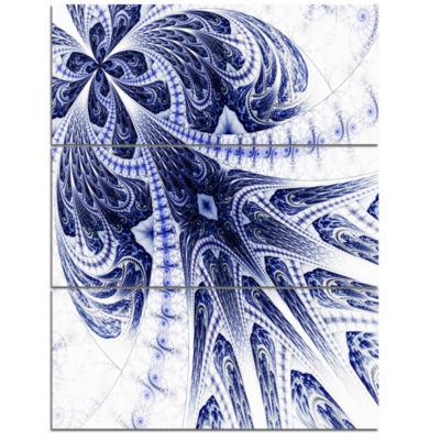 Designart Symmetrical Dark Blue Fractal Flower Floral Triptych Canvas Art Print