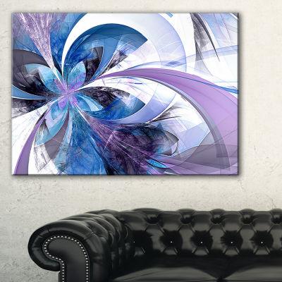 Designart Symmetrical Fractal Flower In Blue Floral Canvas Art Print