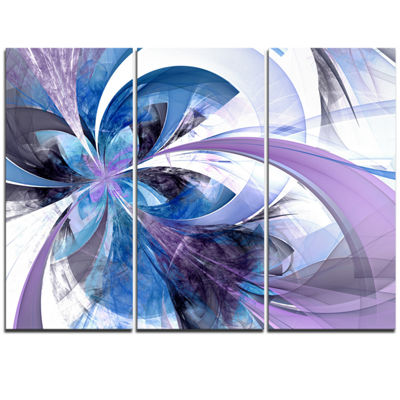 Designart Symmetrical Fractal Flower In Blue Floral Triptych Canvas Art Print