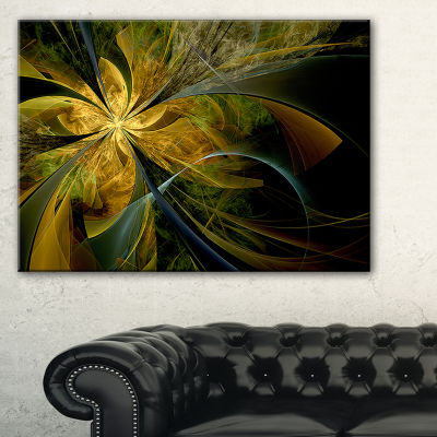 Designart Symmetrical Fractal Flower In Gold Floral Canvas Art Print
