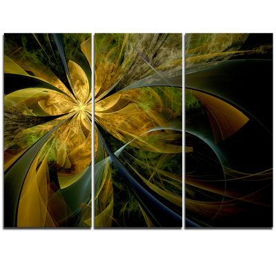 Designart Symmetrical Fractal Flower In Gold Floral Triptych Canvas Art Print