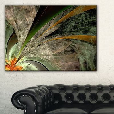 Designart Symmetrical Fractal Flower In Green Floral Canvas Art Print