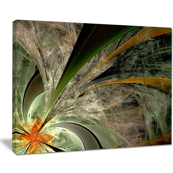 Designart Symmetrical Fractal Flower In Green Floral Canvas Art Print