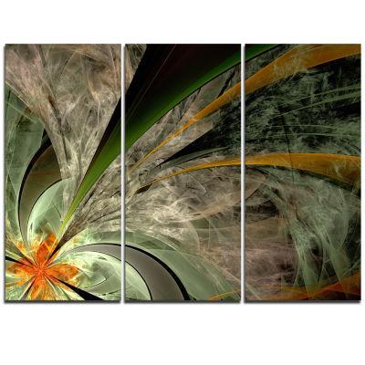Designart Symmetrical Fractal Flower In Green Floral Triptych Canvas Art Print