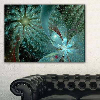 Designart Symmetrical Fractal Flower In Light BlueFloral Canvas Art Print