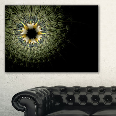 Designart Symmetrical Fractal Flower In Light Green Floral Canvas Art Print