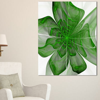 Designart Symmetrical Green Digital Fractal FlowerFloral Canvas Art Print