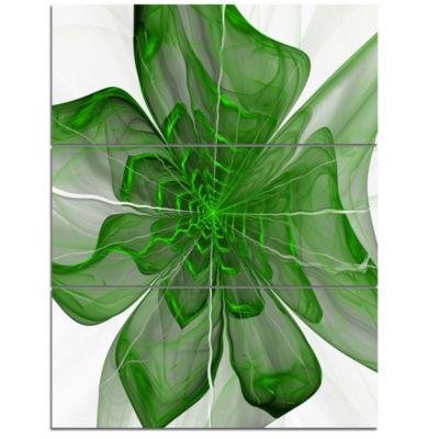 Designart Symmetrical Green Digital Fractal FlowerFloral Triptych Canvas Art Print