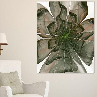 Designart Symmetrical Green Fractal Flower FloralCanvas Art Print