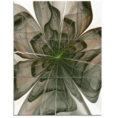 Designart Symmetrical Green Fractal Flower FloralTriptych Canvas Art Print