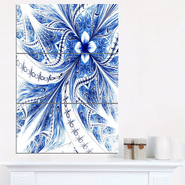 Designart Symmetrical Ideal Blue Fractal Flower Floral Triptych Canvas Art Print