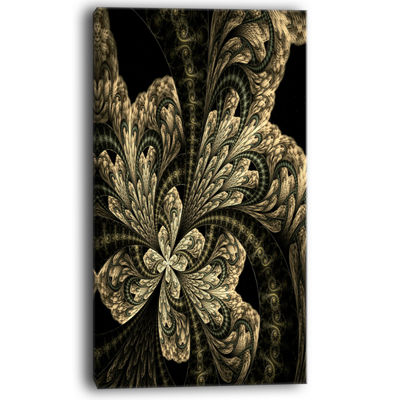 Designart Symmetrical Large Brown Fractal FlowerFloral Canvas Art Print