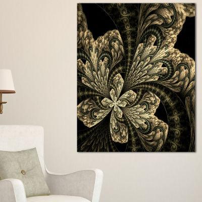 Designart Symmetrical Large Brown Fractal FlowerFloral Canvas Art Print