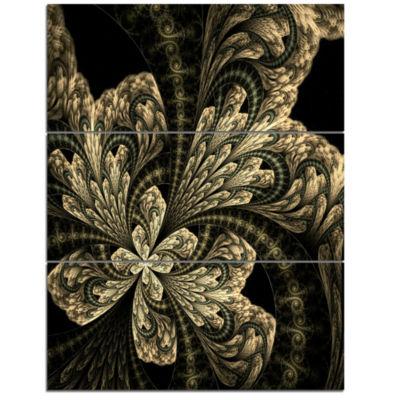 Designart Symmetrical Large Brown Fractal FlowerFloral Triptych Canvas Art Print