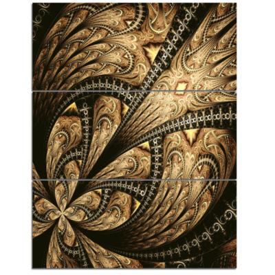 Designart Symmetrical Large Brown Fractal FlowerLarge Floral Triptych Canvas Art Print