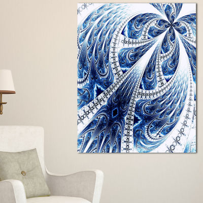 Designart Symmetrical Large Dark Blue Fractal Flower Floral Canvas Art Print