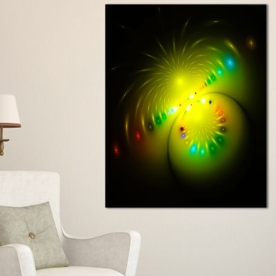 Designart Symmetrical Large Green Fractal FlowerAbstract Art On Canvas